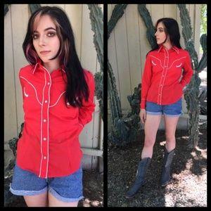 Cute Vtg western snap button down shirt!